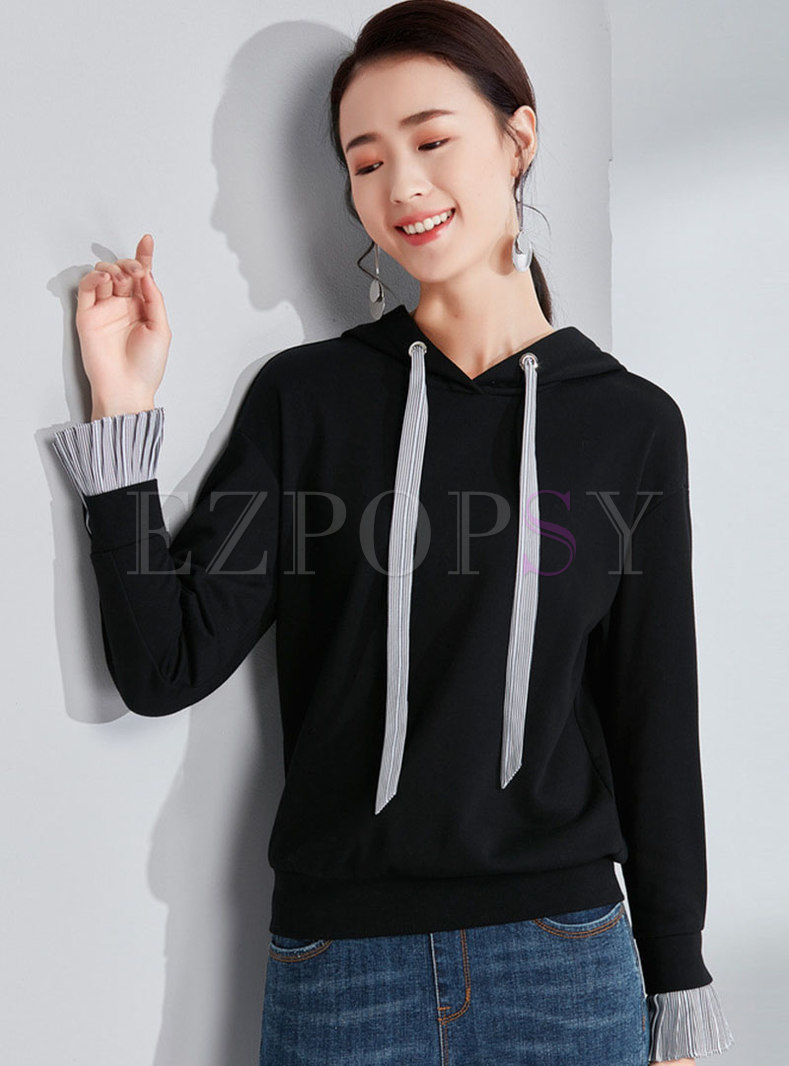 Color-blocked Splicing Hooded Flare Sleeve Loose Sweatshirt