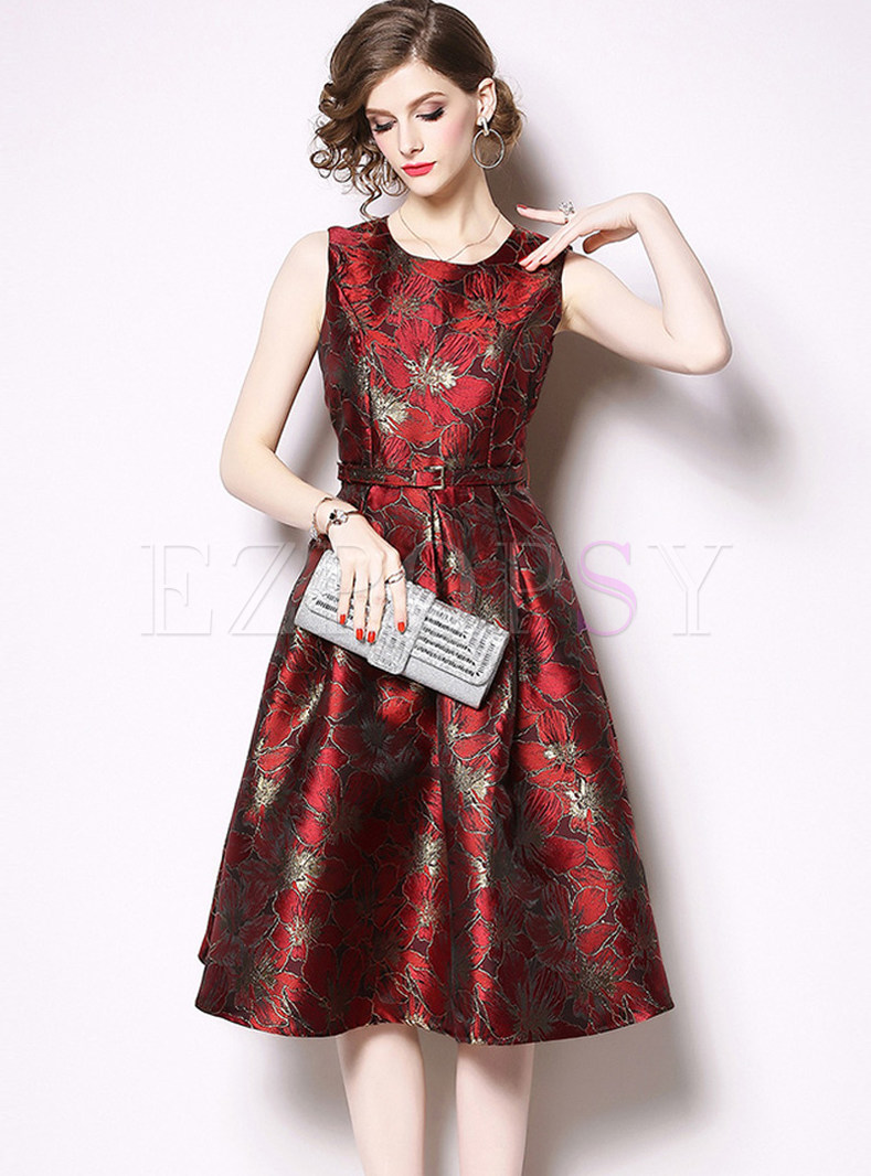 O-neck Sleeveless Print Waist Skater Dress