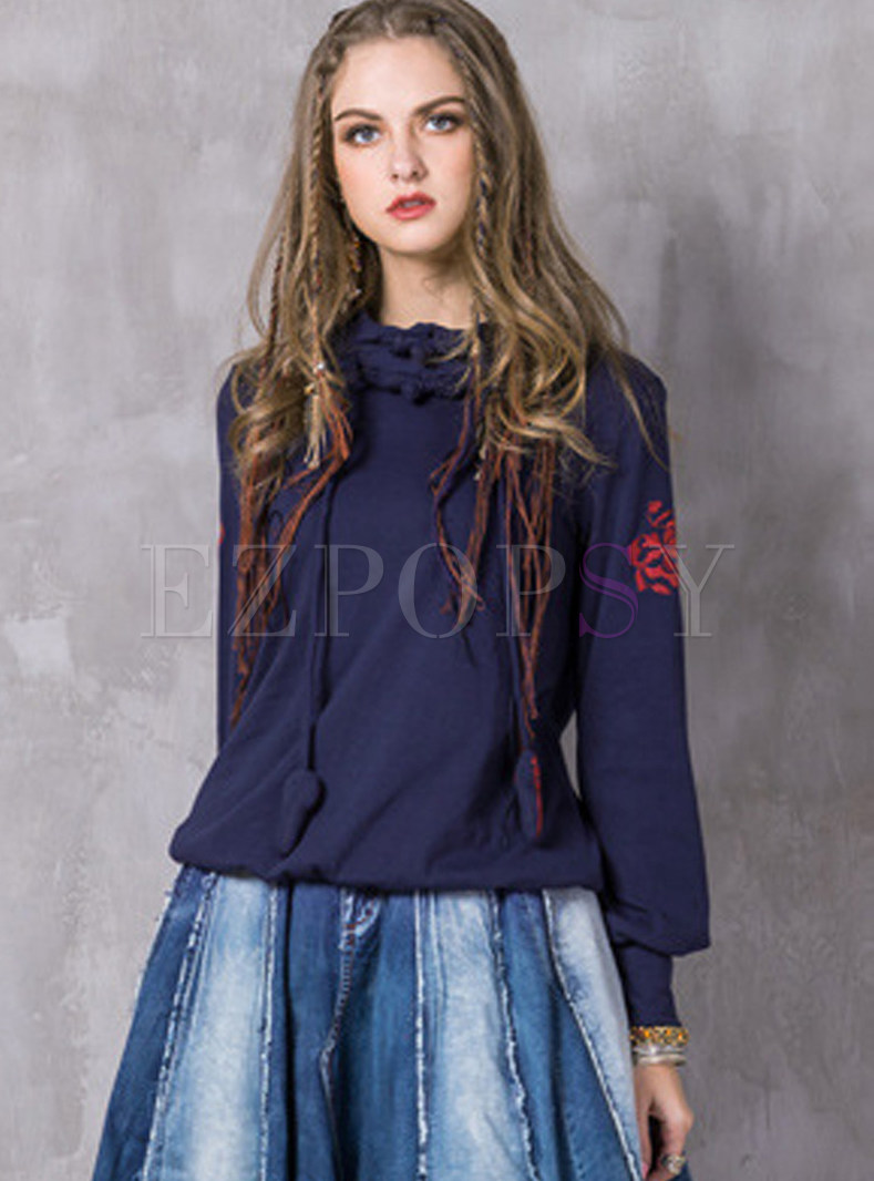 Ethnic Hooded Tied Embroidered Pullover Sweatshirt
