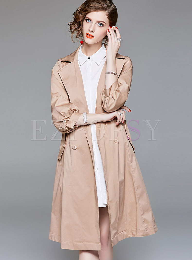 Fashion Turn-down Collar Single-breasted Trench Coat