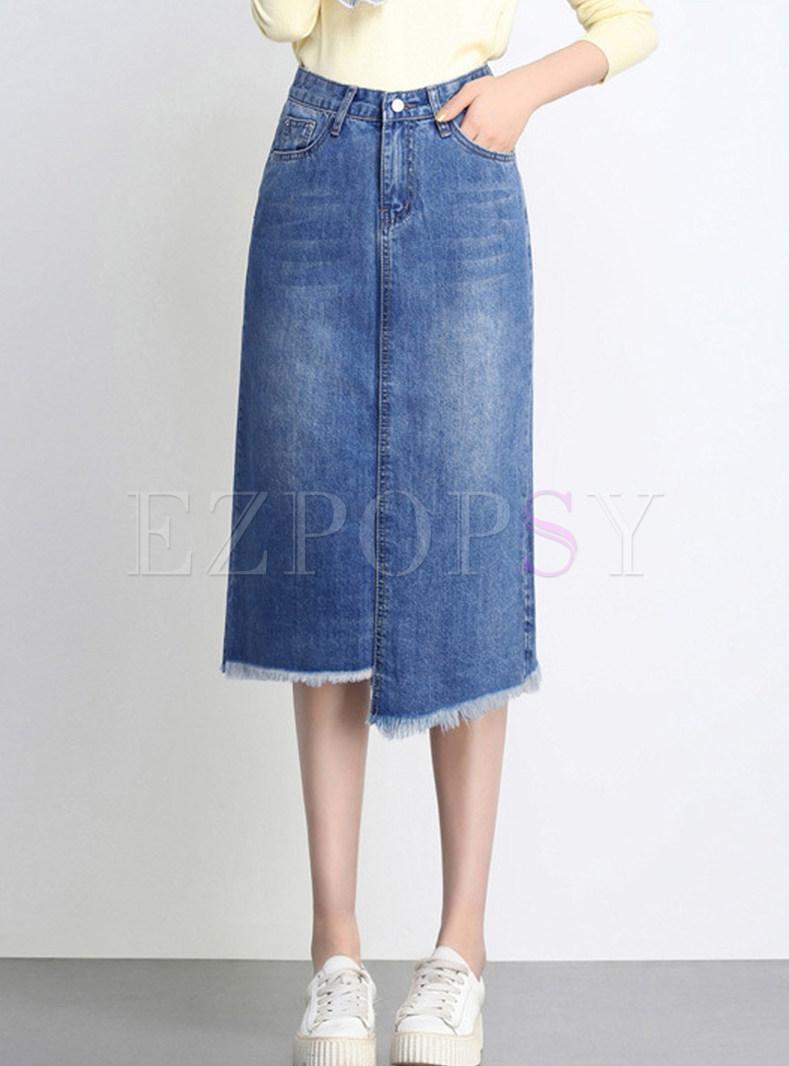 Brief Solid Color High Waist Irregular Tassel Hem Skirt