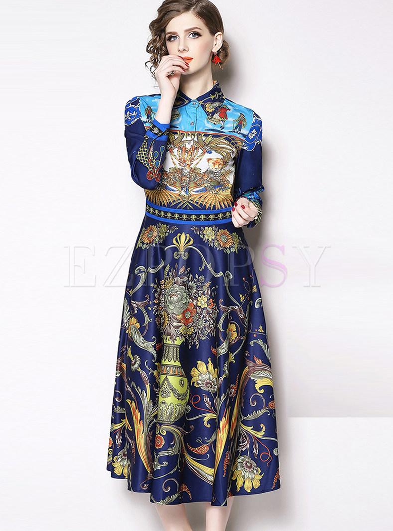 Court Lapel Long Sleeve Waist Big Hem Skater Dress