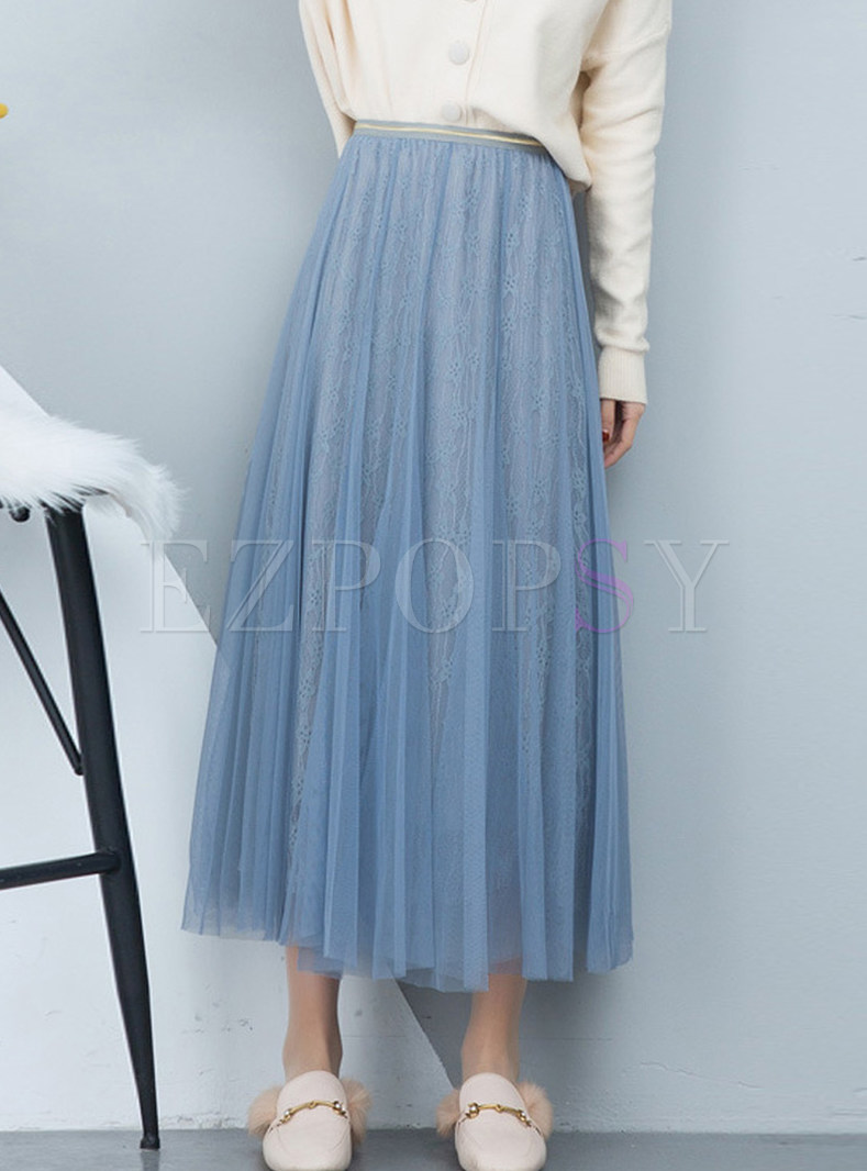 Solid Color Elastic Waist Mesh Big Hem Skirt
