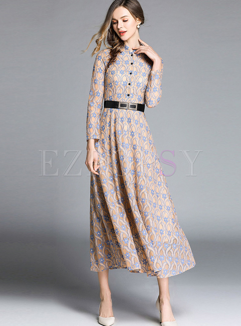 Mandarin Collar Long Sleeve Lace Maxi Dress