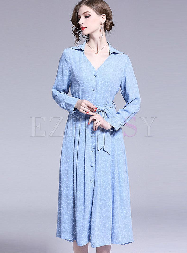 Elegant Polka Dot V-neck Belted Single-breasted Skater Dress