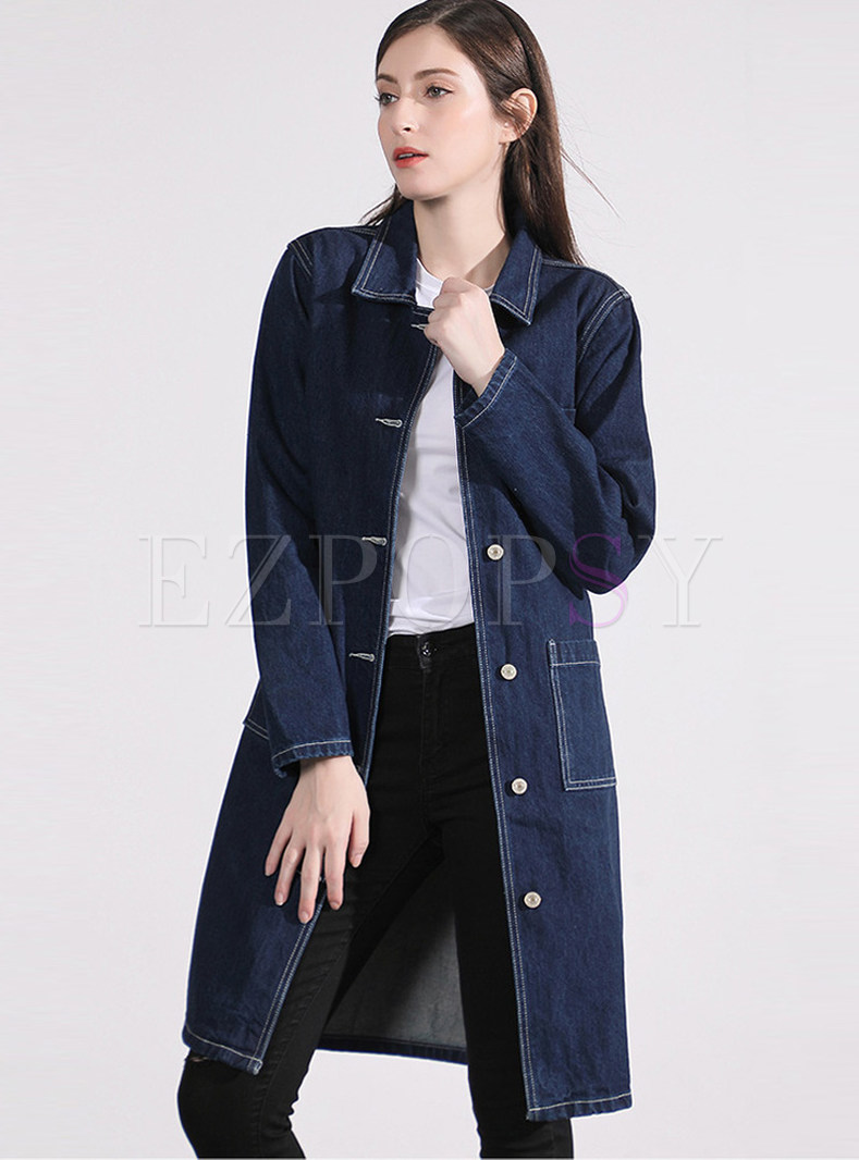 Solid Color Turn Down Collar Long Sleeve Denim Coat