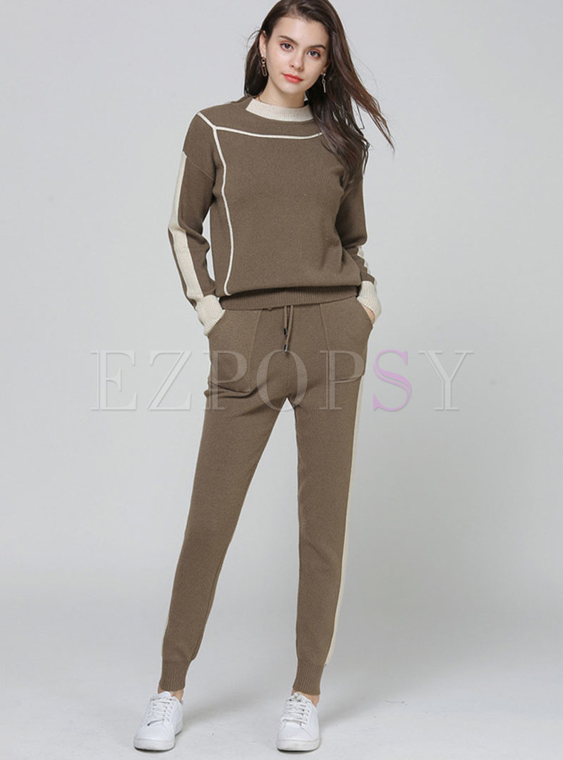 Casual Color-blocked Stand Collar Knitted Sweater & Elastic Waist Straight Pants