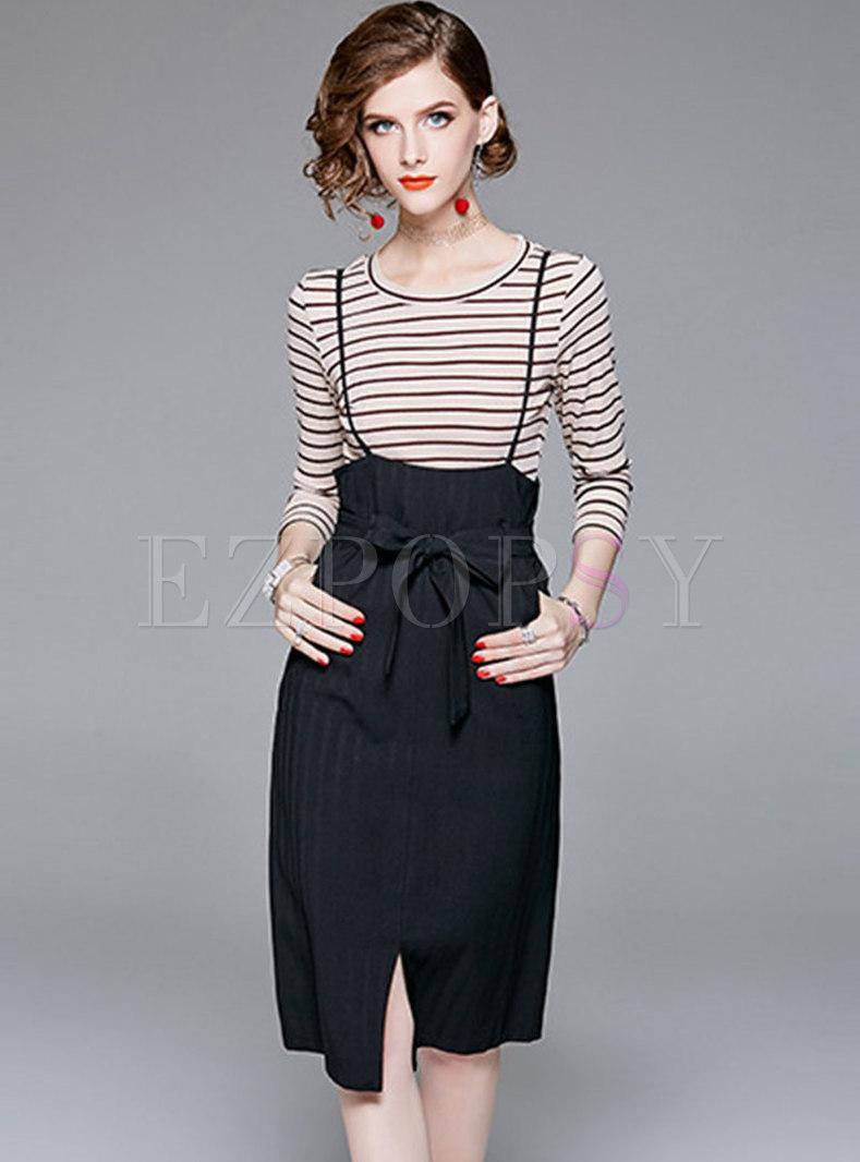 Striped O-neck Slim T-shirt & Black High Waist Slit Slip Dress