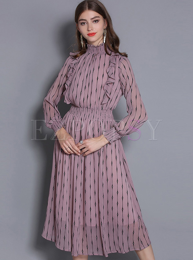 Fashion High Neck Falbala Long Sleeve Skater Dress