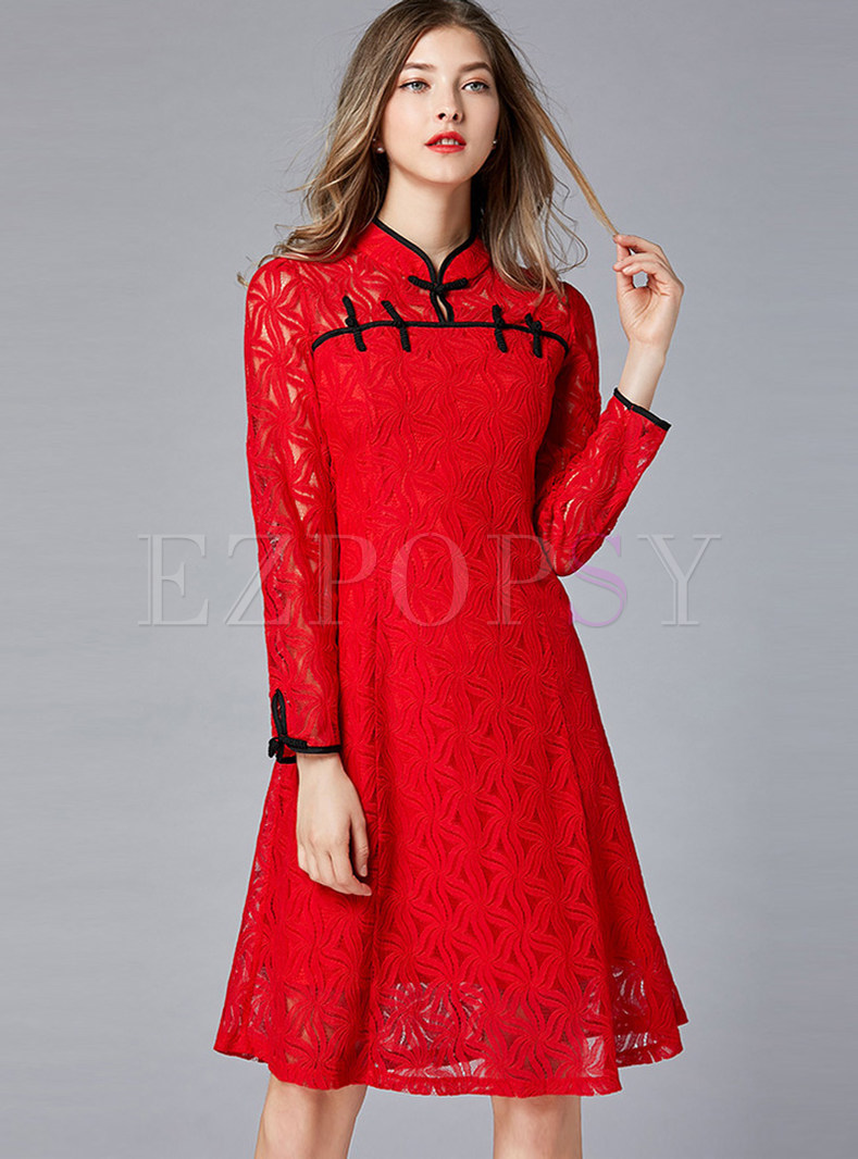 Vintage Mandarin Collar Long Sleeve Waist A Line Dress