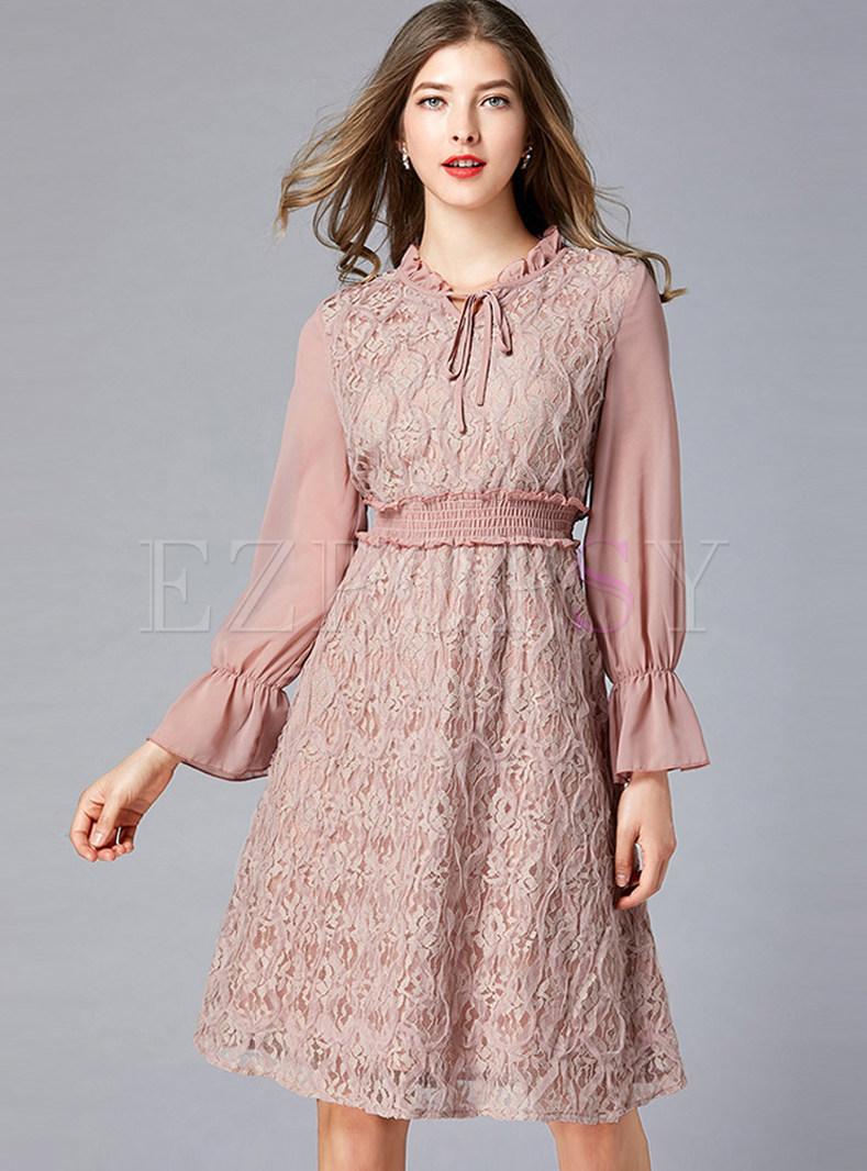 Retro Court O-neck Tied Elastic Waist Plus Size Dress