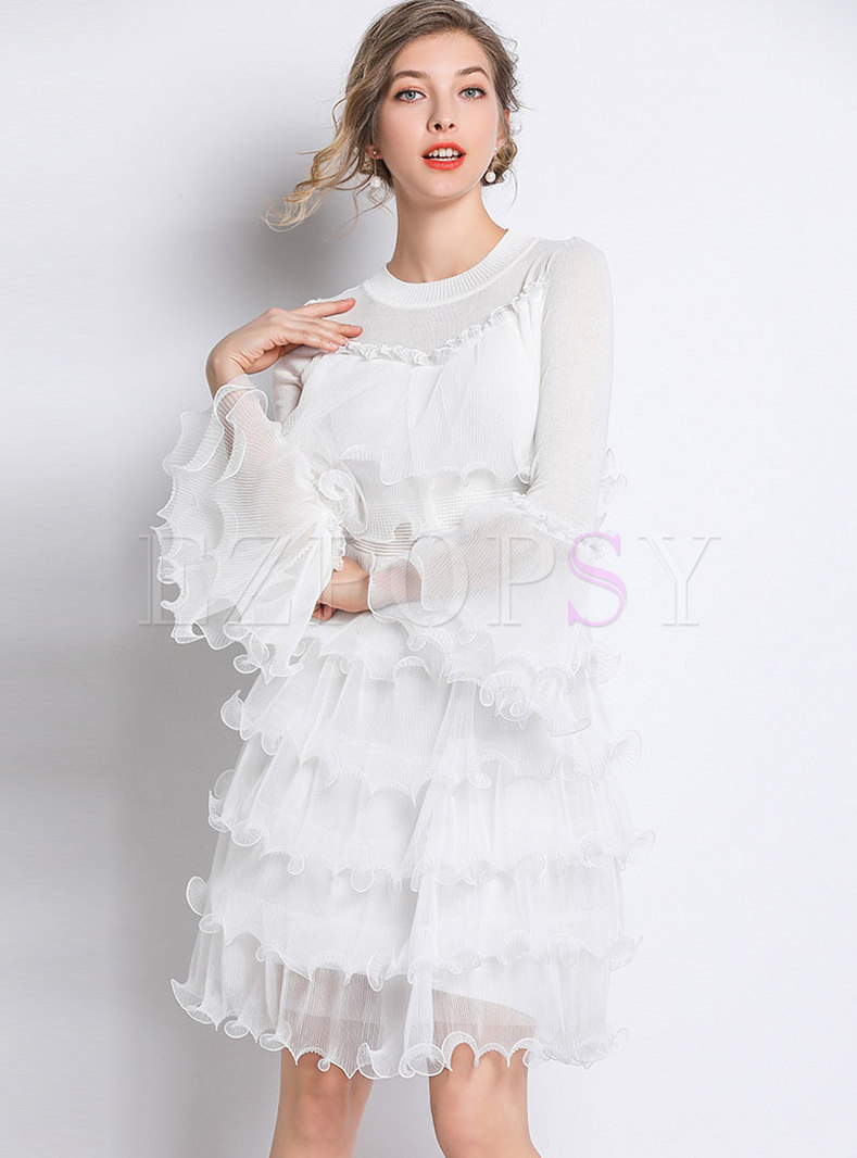 Stylish Splicing Flare Sleeve High Waist Layered Dress