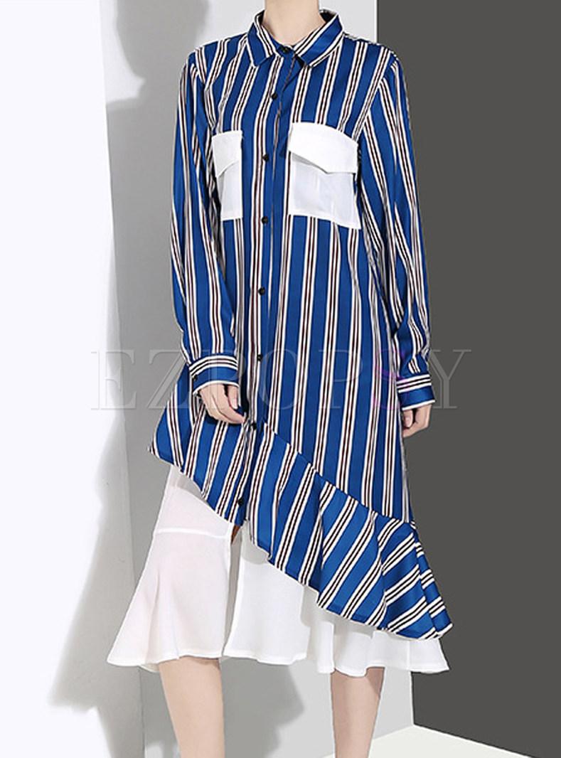 Fashion Lapel Long Sleeve Striped Splicing Shift Dress