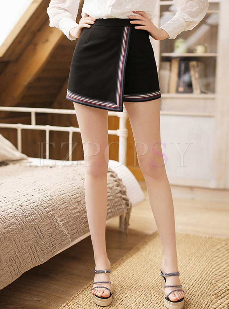 Casual Color-blocked Asymmetric All Match Shorts