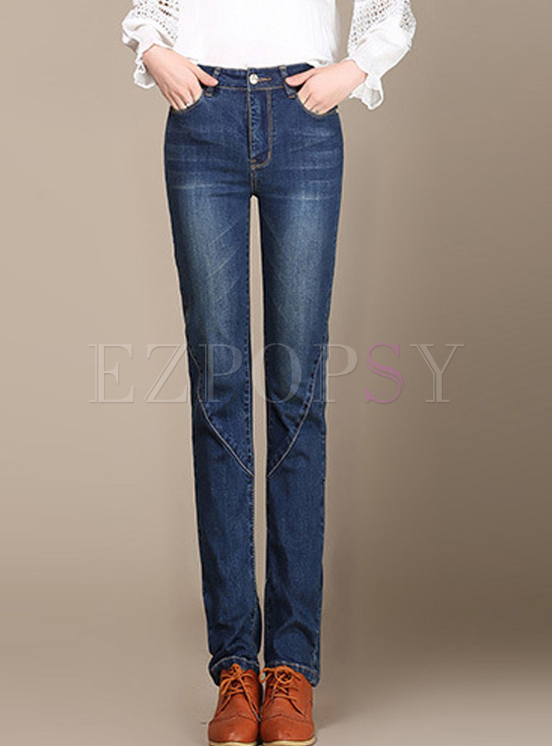 Casual High Waist Slim Denim Pencil Pants With Button