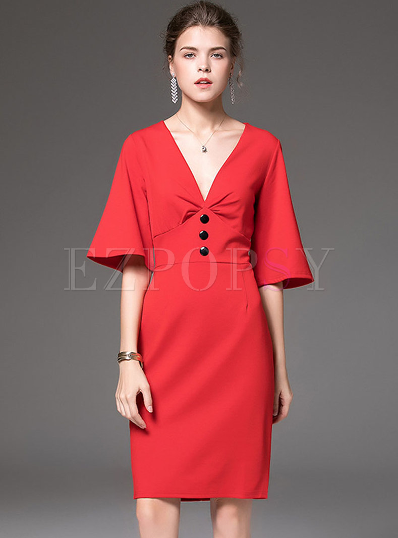 Sexy Deep V-neck Gathered Waist Sheath Dress