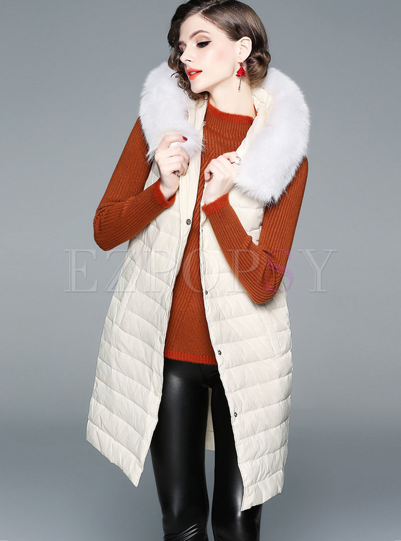 Stylish Hooded Fur Single-breasted Slim Down Vest