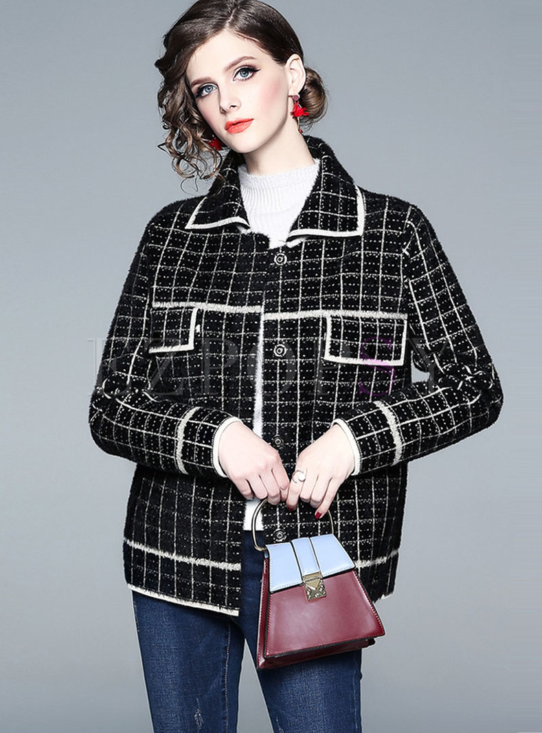 Color-blocked Plaid Lapel Straight Coat