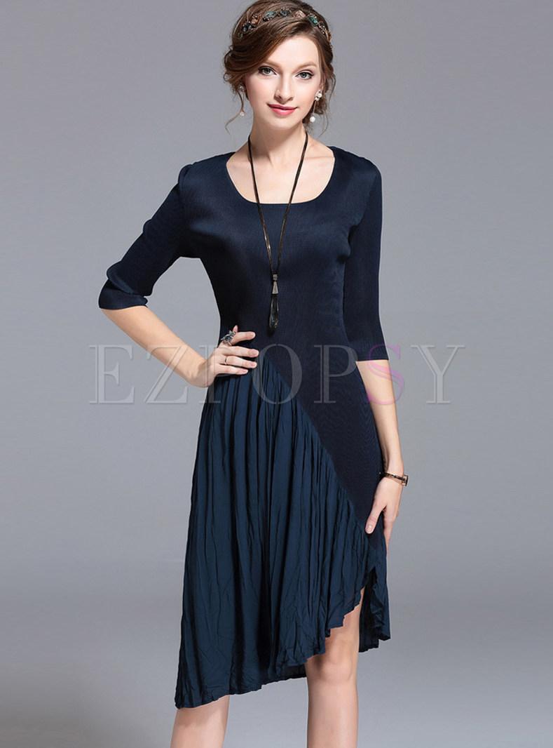 Brief Pure Color Three Quarters Sleeve Asymmetric Dress