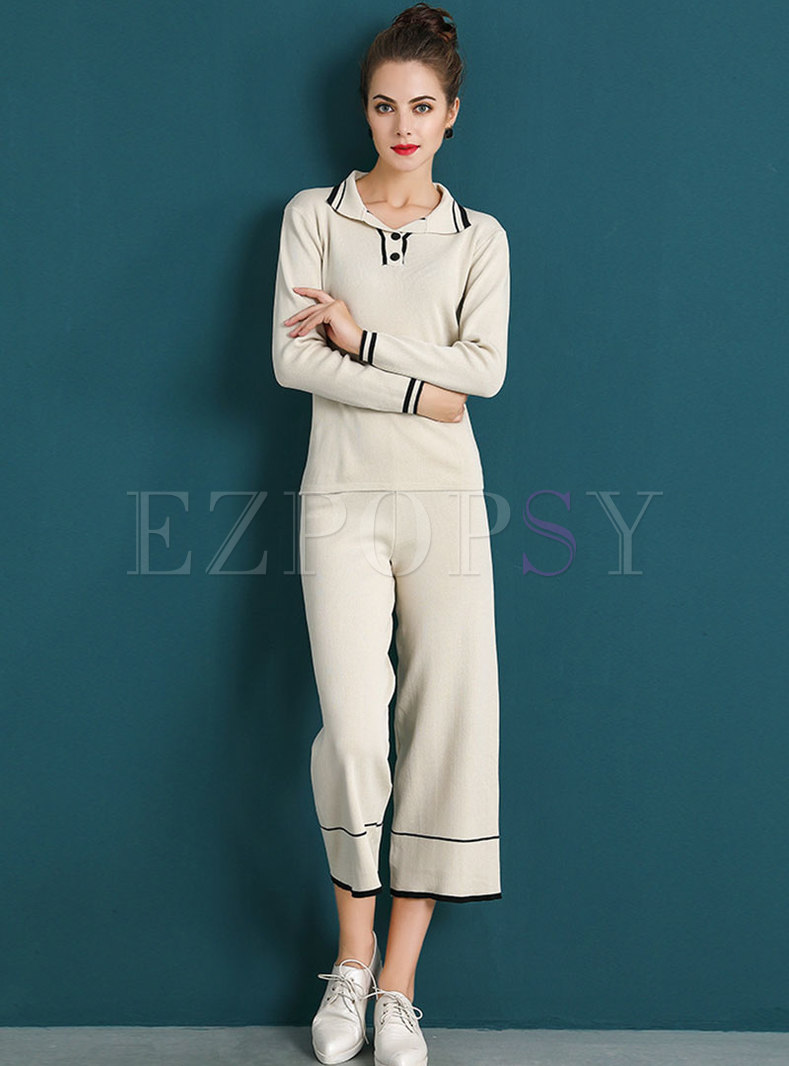 Casual Color-blocked Lapel Knitted Top & Knitted Wide Leg Pants