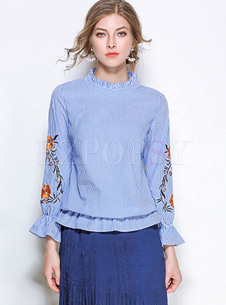Trendy Standing Collar Embroidered Striped Blouse