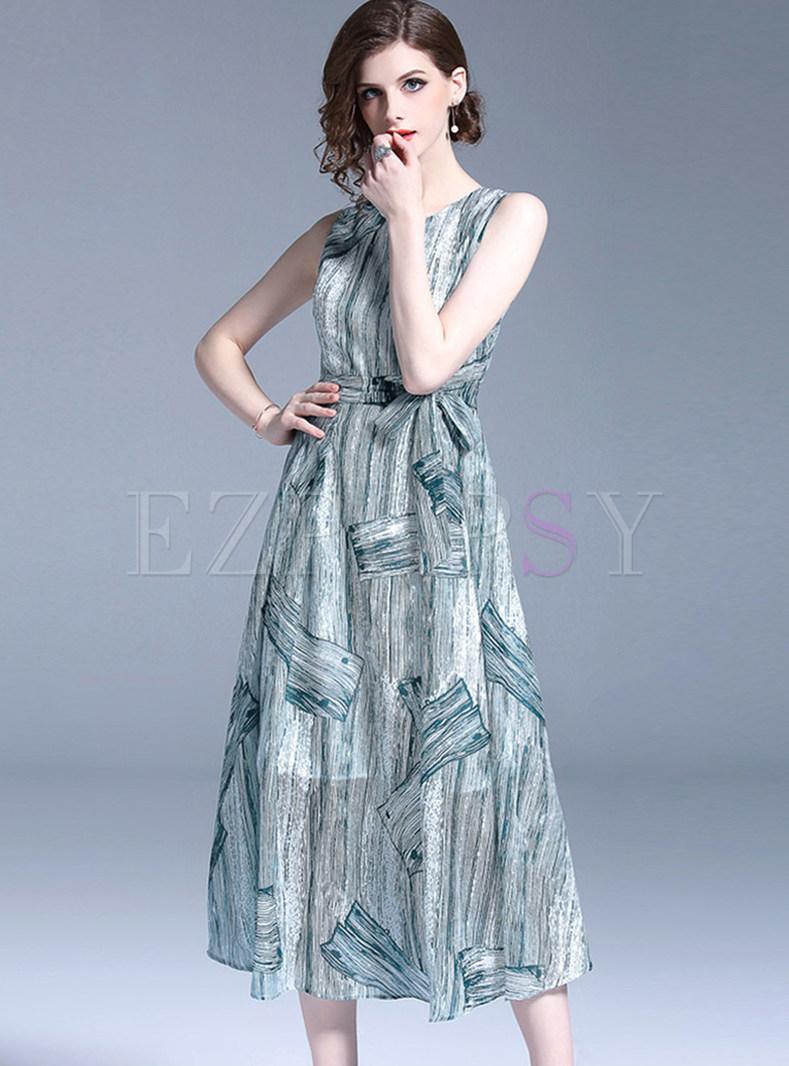 O-neck Sleeveless Bowknot Waist Print Skater Dress