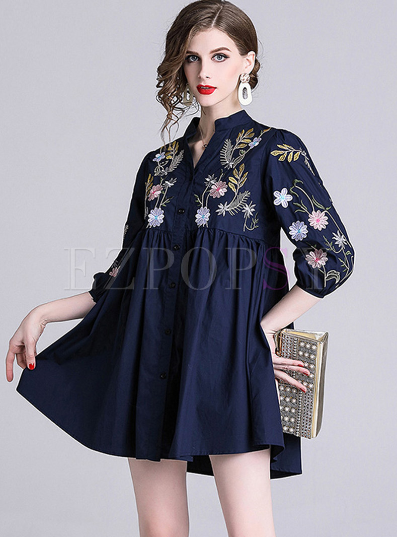 Casual V-neck Lantern Sleeve Embroidered Mini Dress