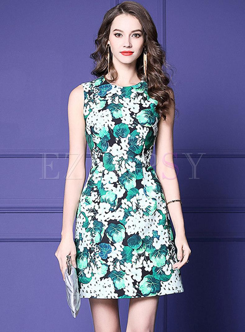 Floral Print O-neck Sleeveless Slim Skater Dress
