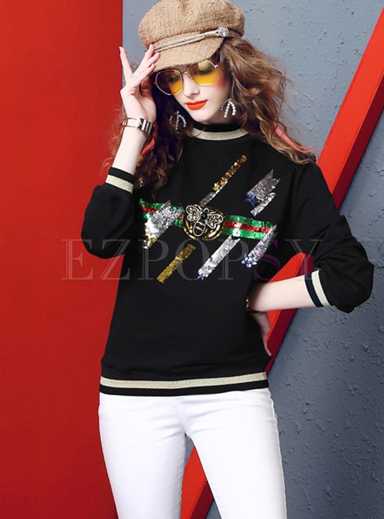 Casual Color-blocked Long Sleeve Animal Print Sweatshirt