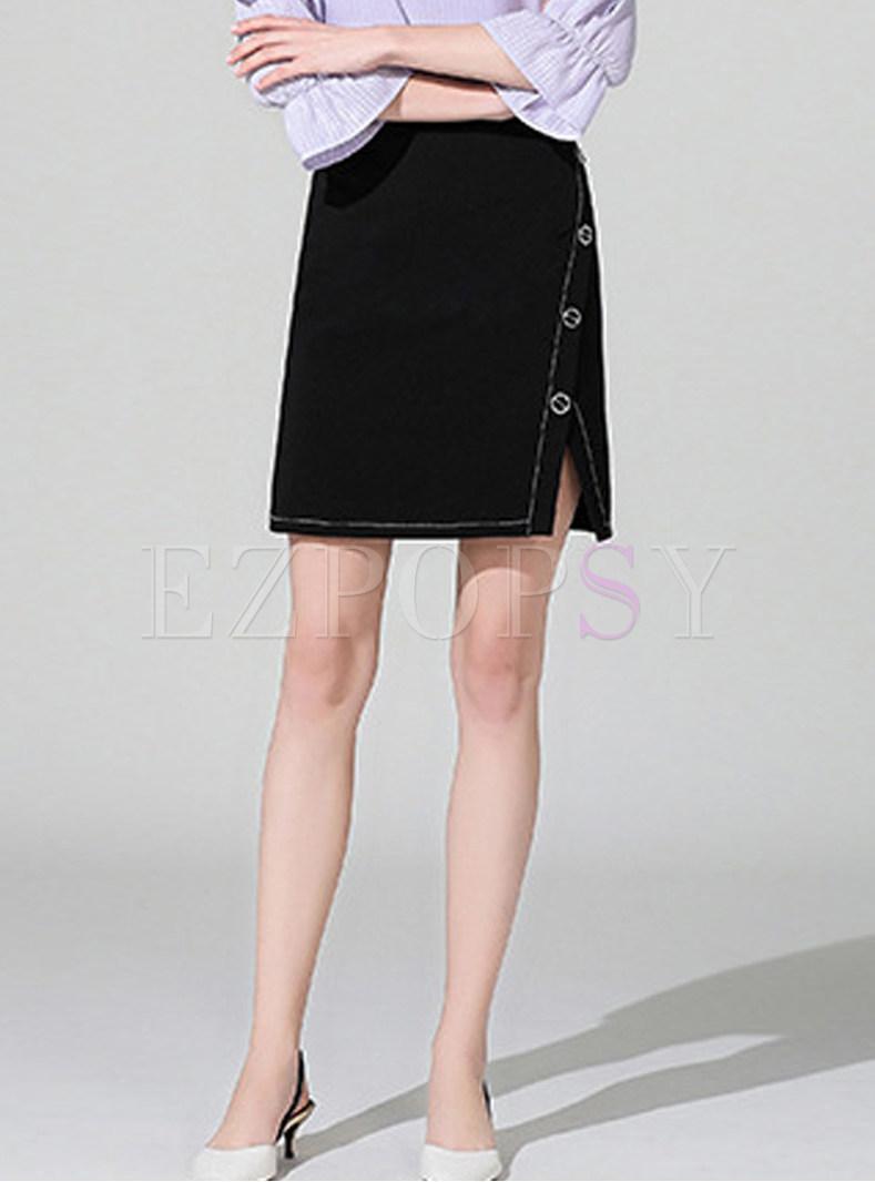 Trendy Solid Color High Waist Slit Bodycon Skirt