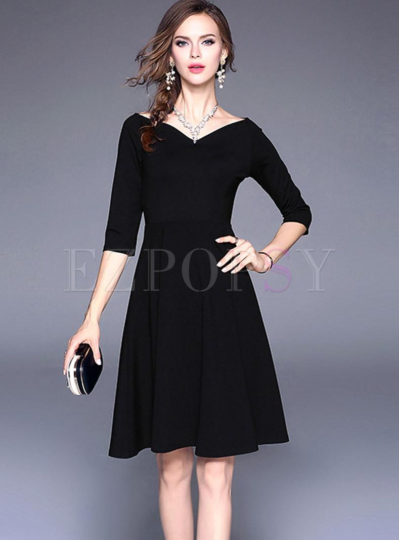 V-neck Half Sleeve Waist Big Hem Skater Dress