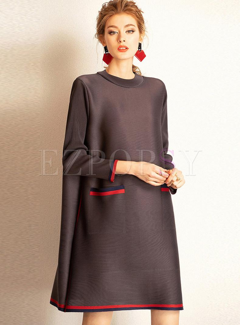 Dresses | Shift Dresses | O-neck Long Sleeve Plus Size Loose Pleated ...