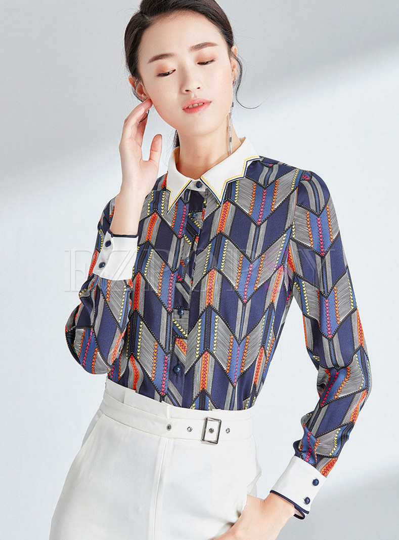 Chic Color-blocked Lapel Single-breasted Blouse