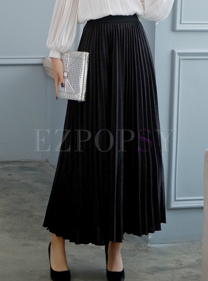 Trendy Solid Color Pleated A Line Skirt