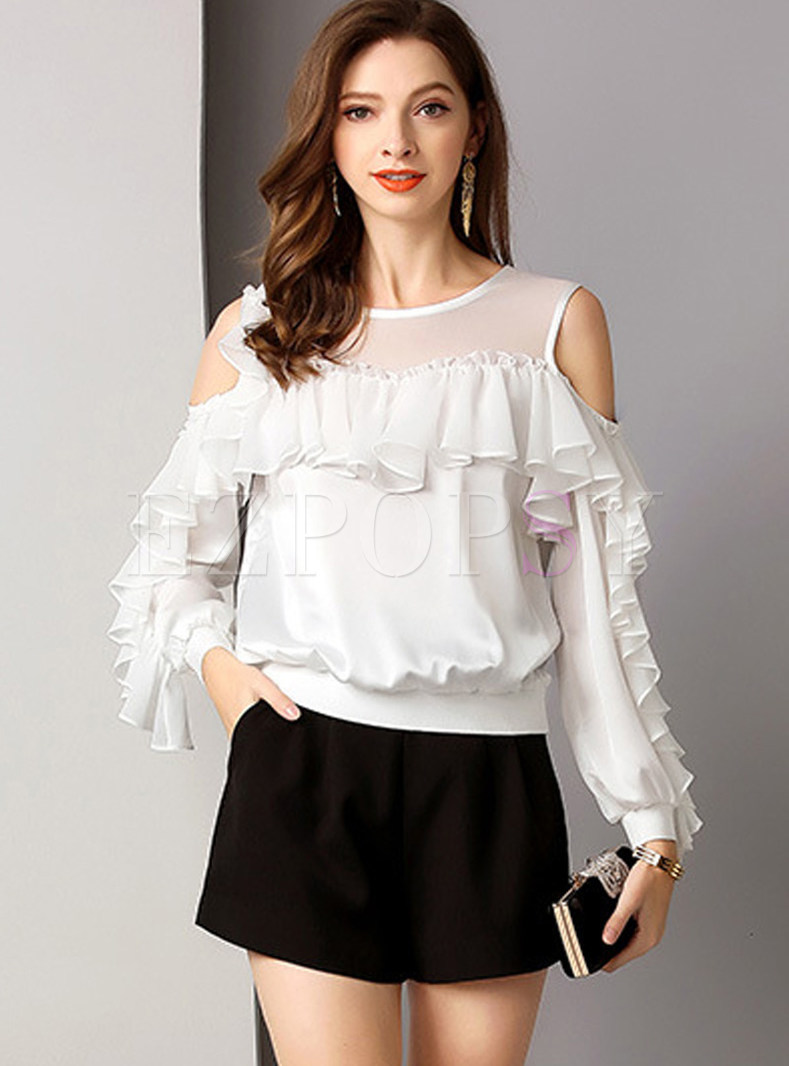 White O-neck Off Shoulder Long Sleeve Blouse