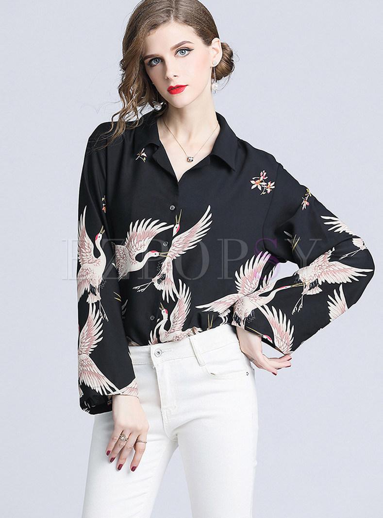 Trendy Crane Print Flare Sleeve Blouse