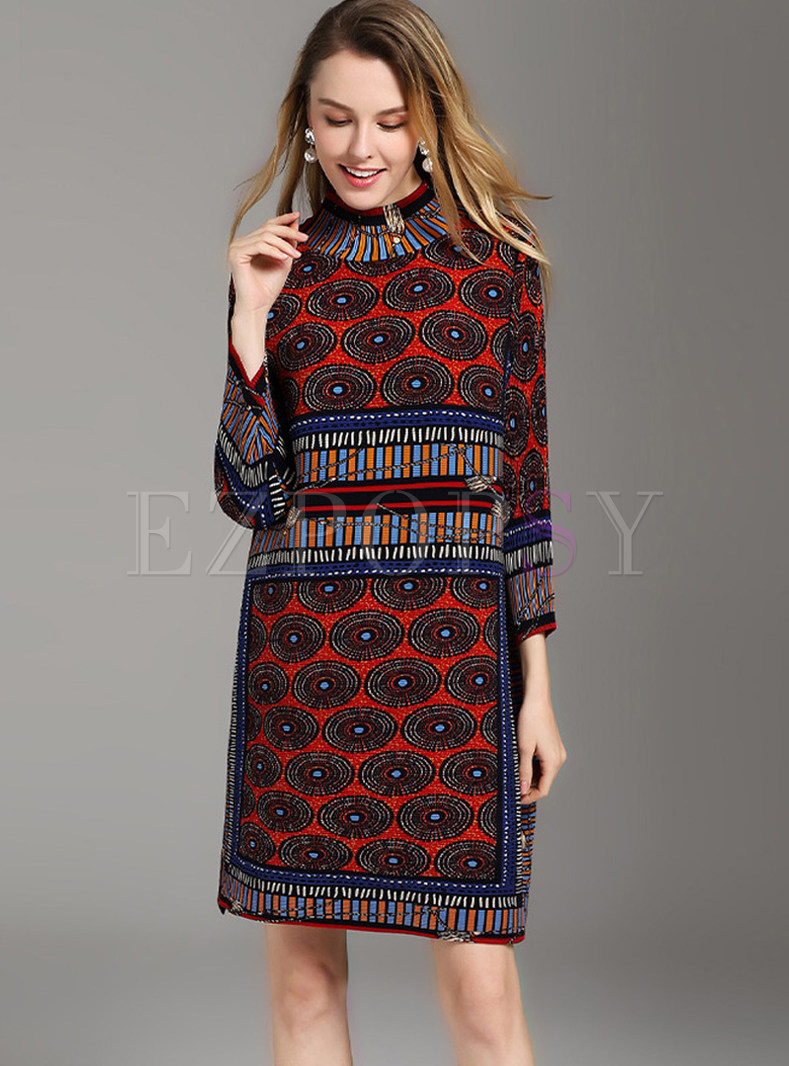 Ethnic High Neck Three Quarters Sleeve Print Shift Dress