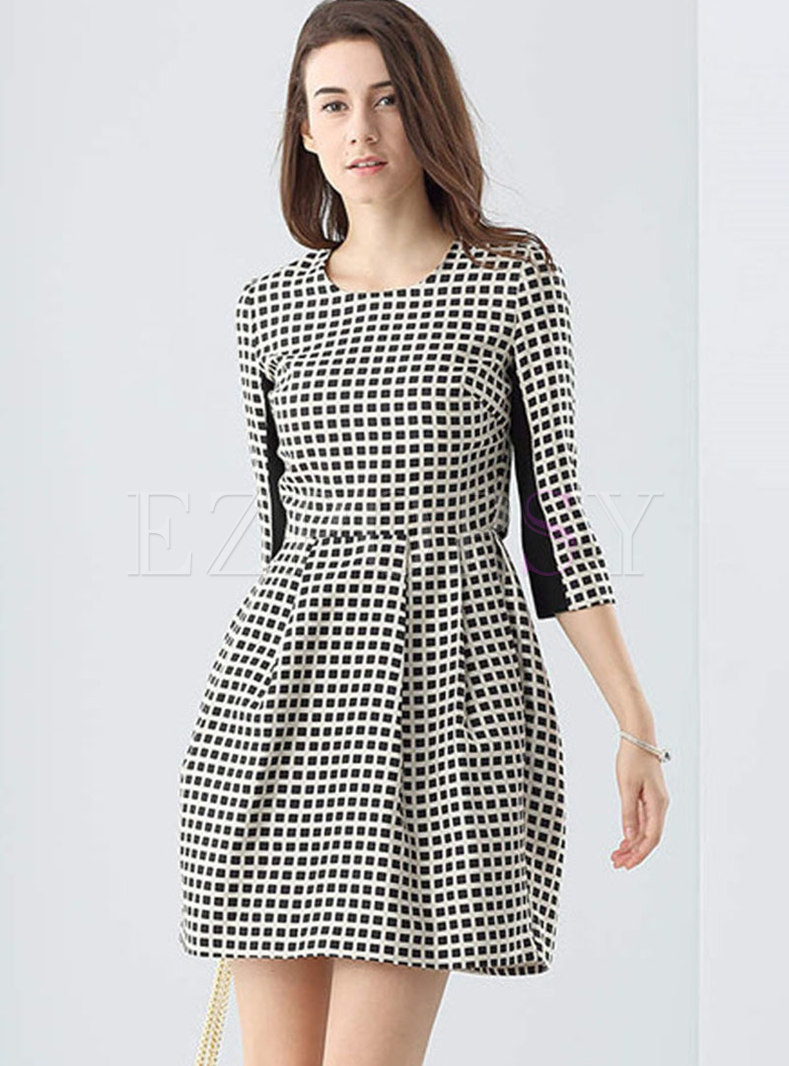 Grid High Waist Three Quarters Sleeve Slim Dress