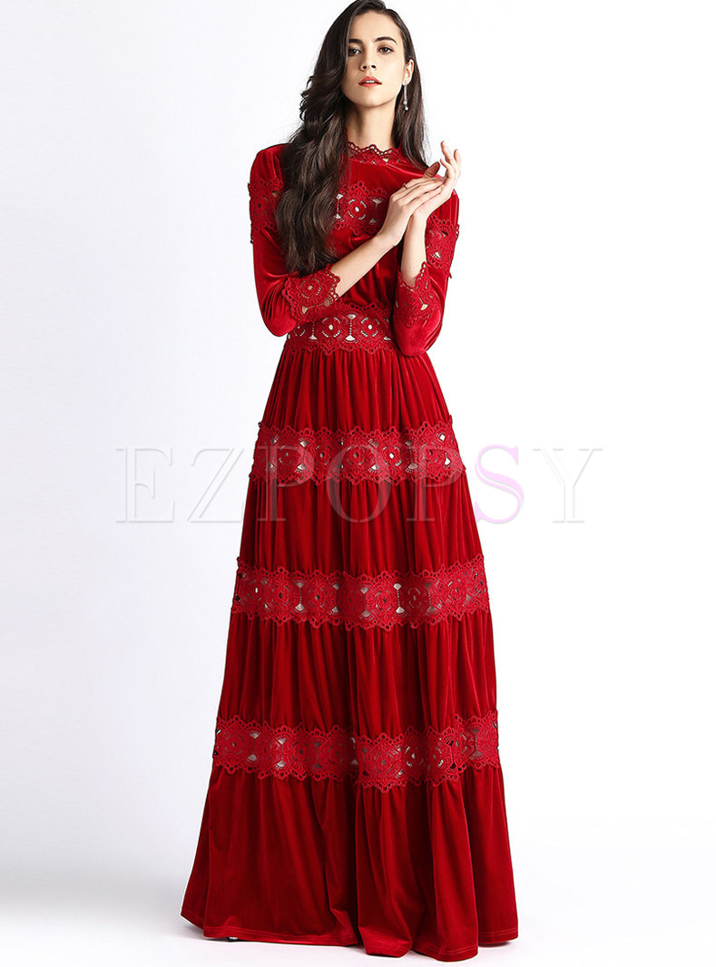 Trendy Long Sleeve Lace Splicing Gold Velvet Maxi Dress