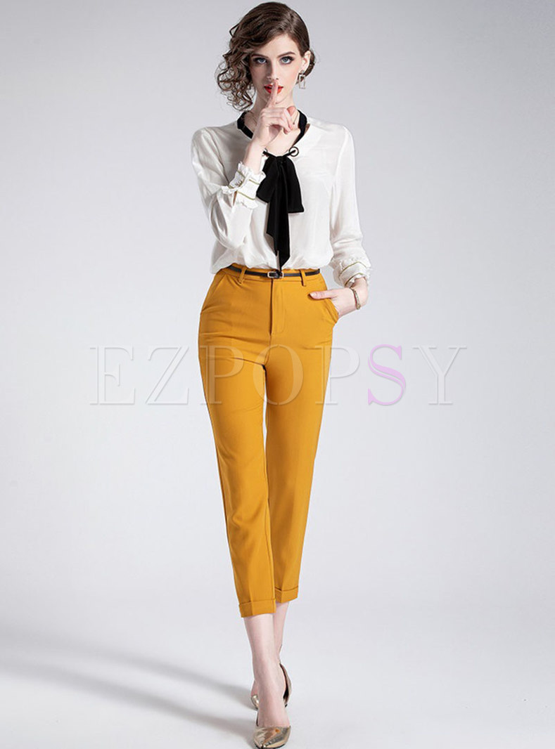 Color-blocked O-neck Bowknot Blouse & Belted Slim Pencil Pants