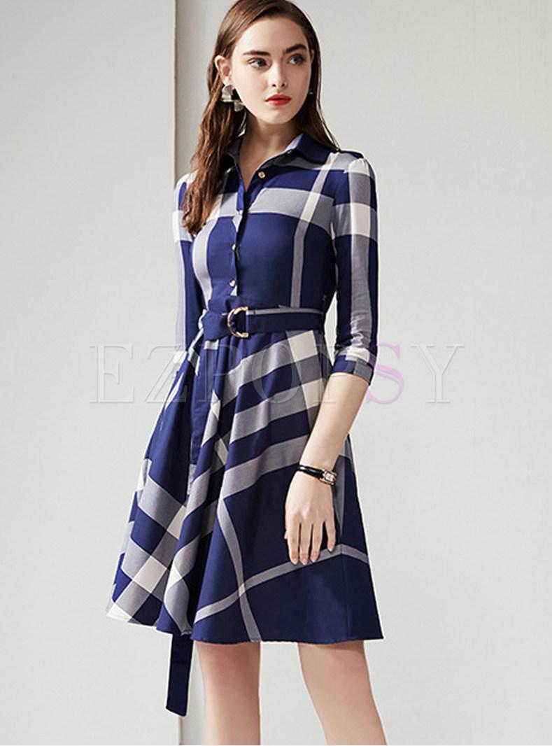 Casual Turn Down Collar Plaid Big Hem A Line Dress
