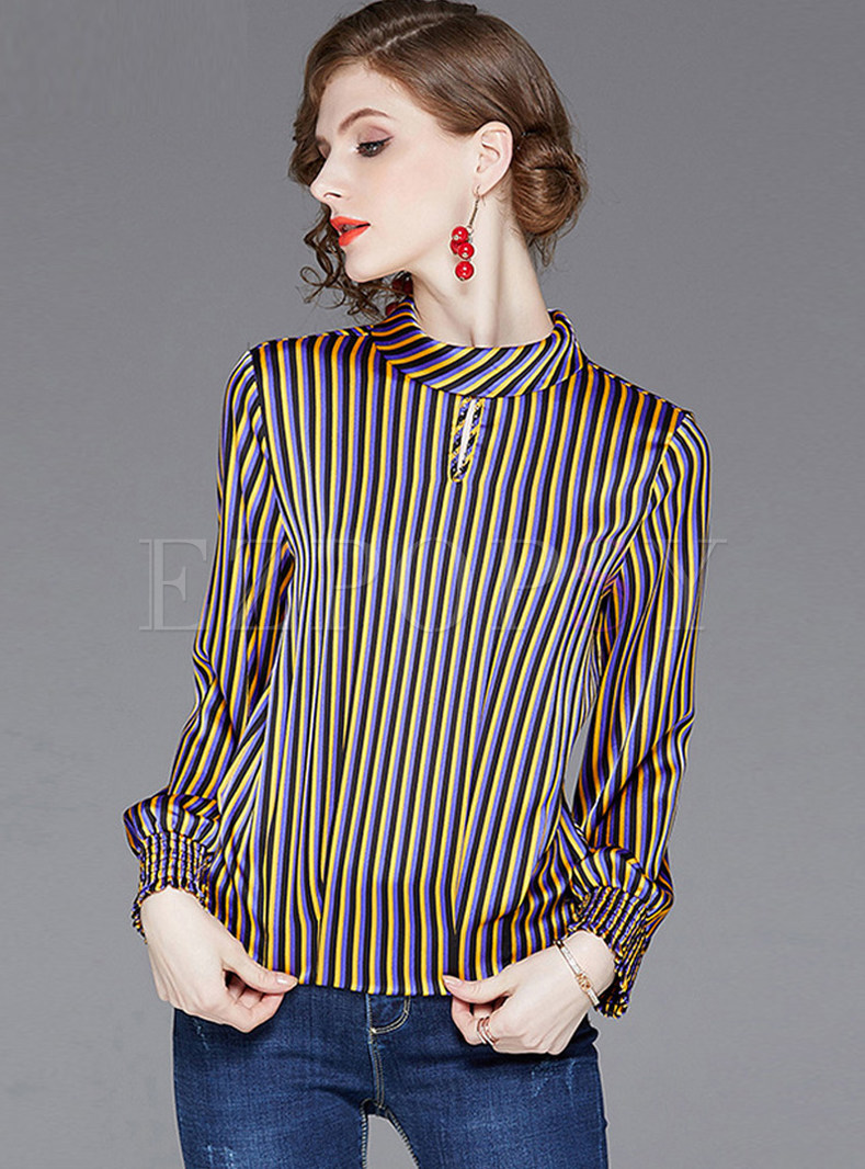 Fashion Standing Collar Long Sleeve Striped Blouse