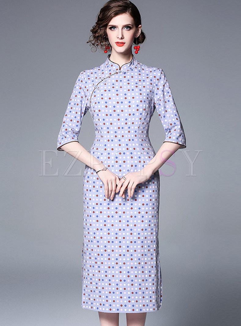 Vintage Mandarin Collar Polka Dot Improved Cheongsam Dress