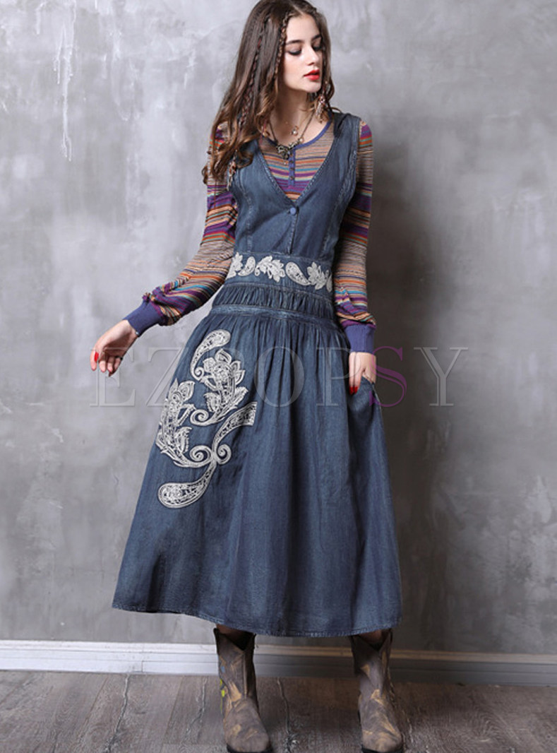 V-neck Embroidered Hooded Sleeveless Denim Maxi Dress