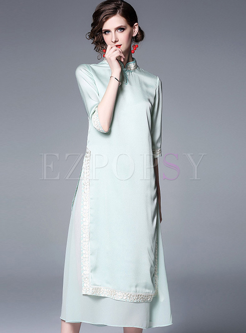 Vintage Mandarin Collar Slim Improved Cheongsam Dress