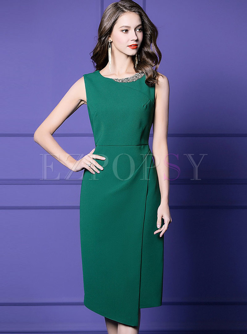 O-neck Sleeveless High Waist Drilling Asymmetric Bodycon Dress