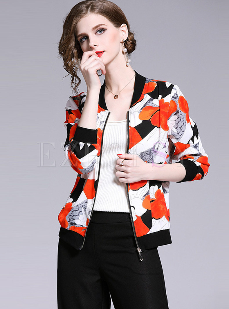 V-neck Loose Print Zippered Short Jacket