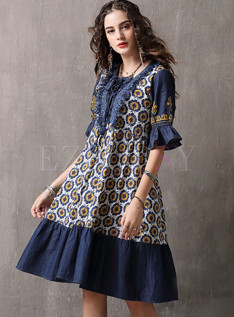 Square Neck Flare Sleeve Splicing Print Shift Dress