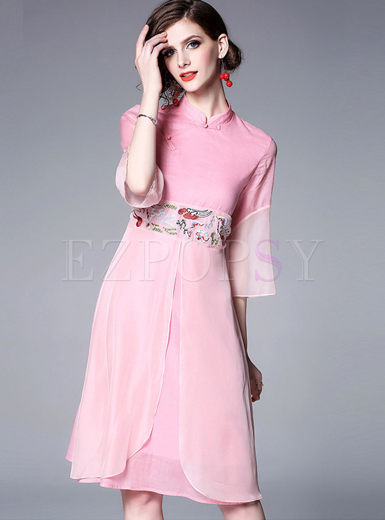 Retro Three Quarters Sleeve Big Hem Waist A Line Dress