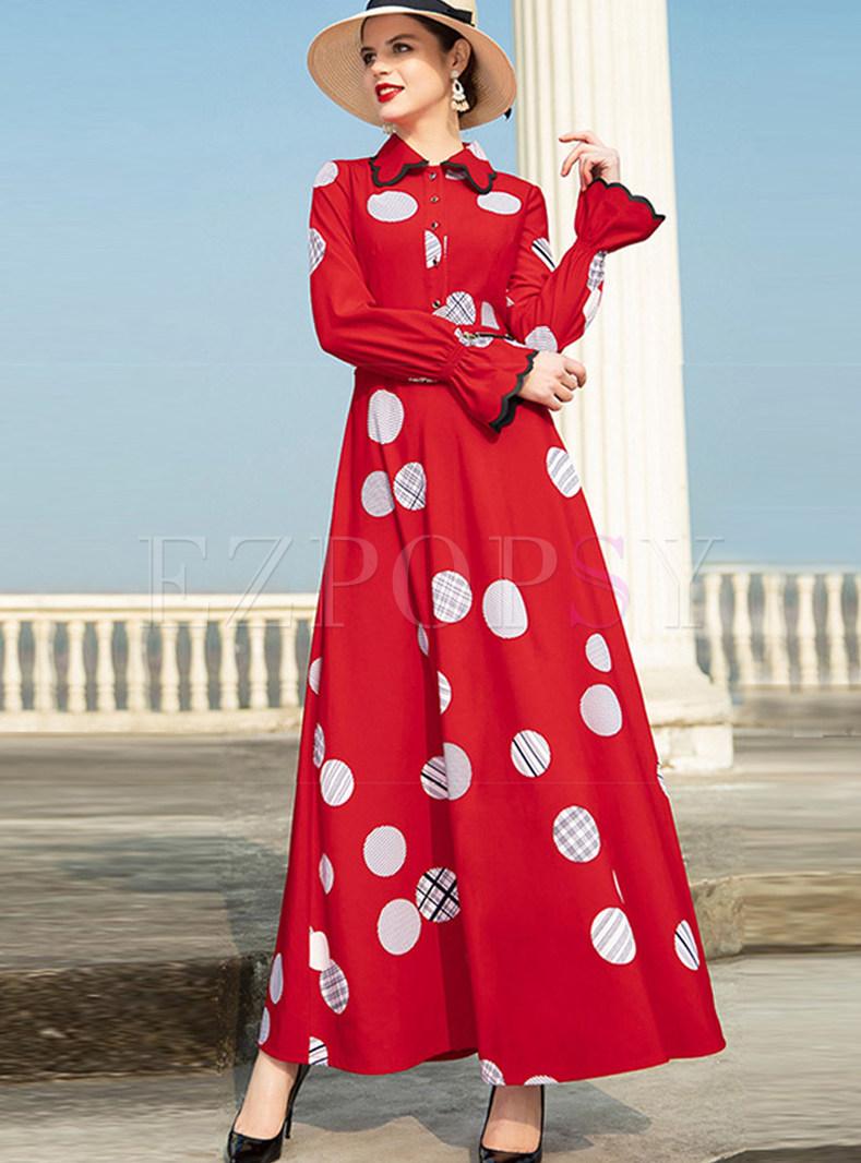 Red Vintage Lapel Long Sleeve Polka Dot Big Hem Dress